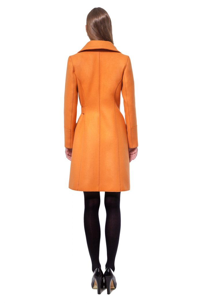 Orange belted wool coat with raw edges