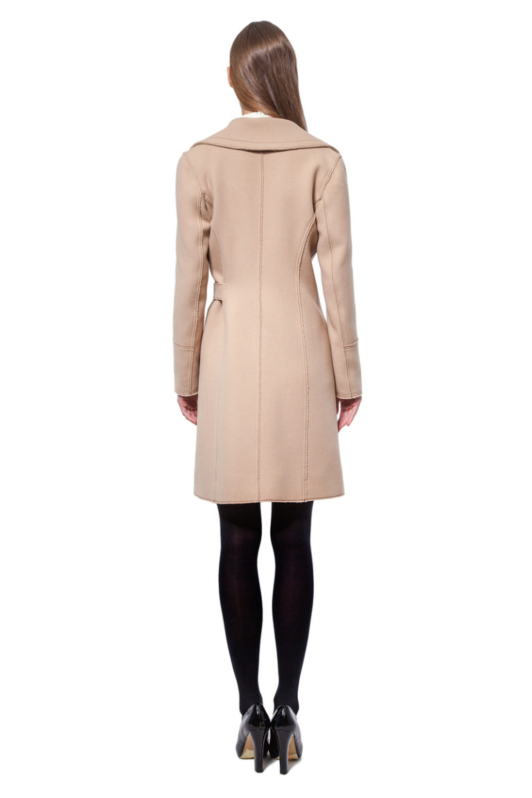 Beige belted wool coat with raw edges