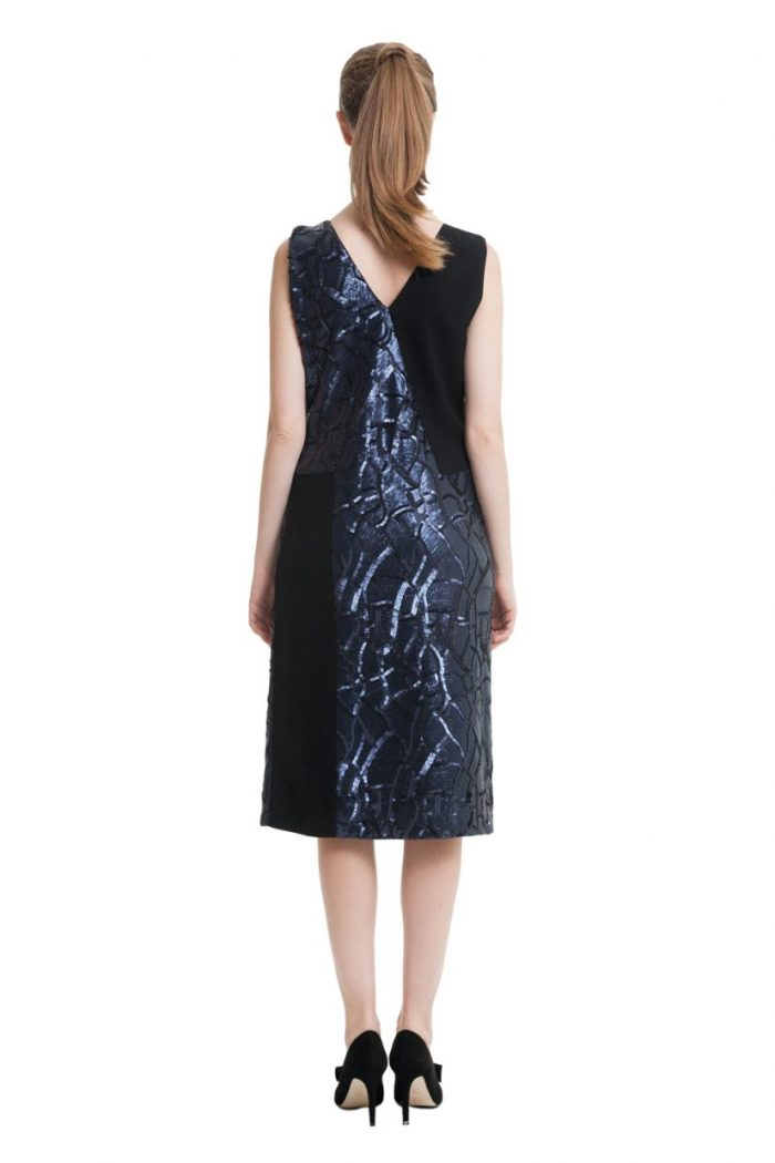 Black midi dress with dark blue sequins