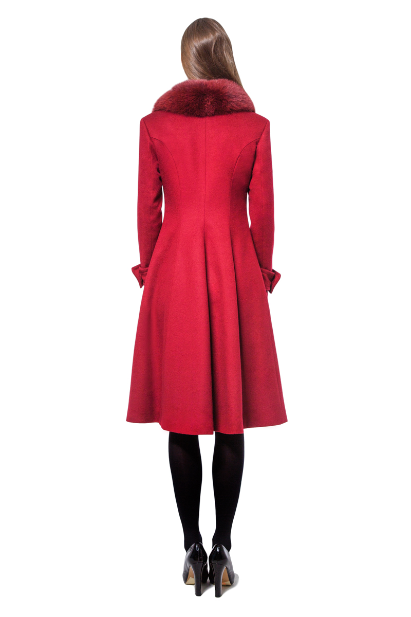 Burgundy A-line coat with fur-trimmed collar