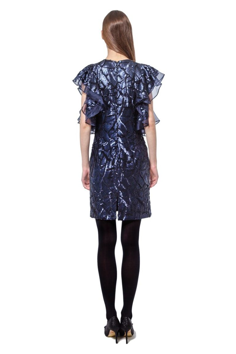 Blue sequinned short dress with ruffled sleeves