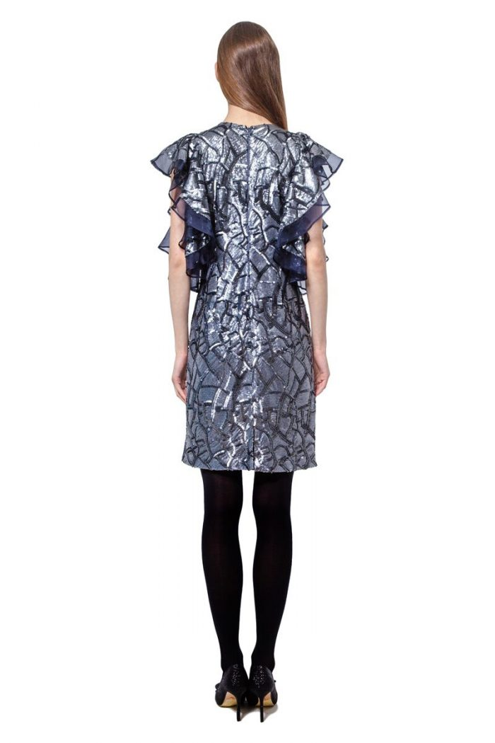 Silver grey sequinned short dress with ruffled sleeves