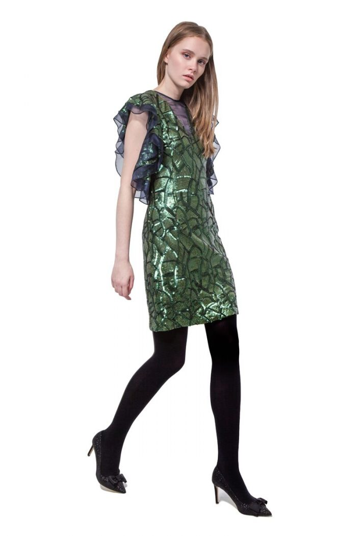 Green sequinned short dress with ruffled sleeves
