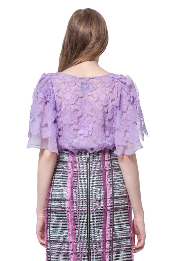 Lilac lace flowers blouse with cap sleeves