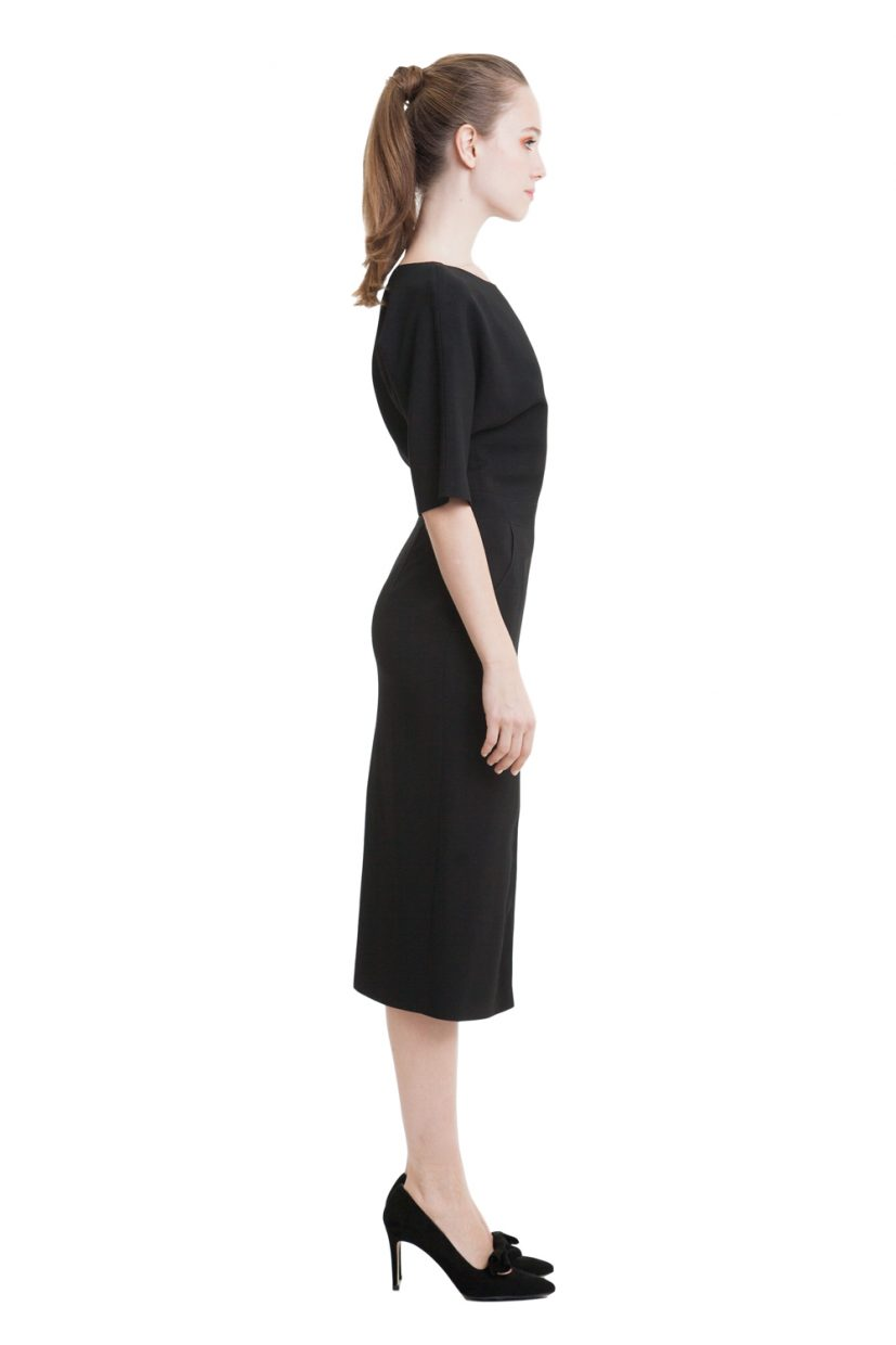 Black dress with bat sleeves and splits