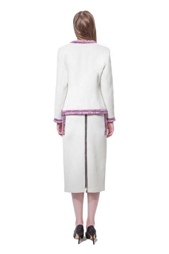 White jacket with purple tweed details