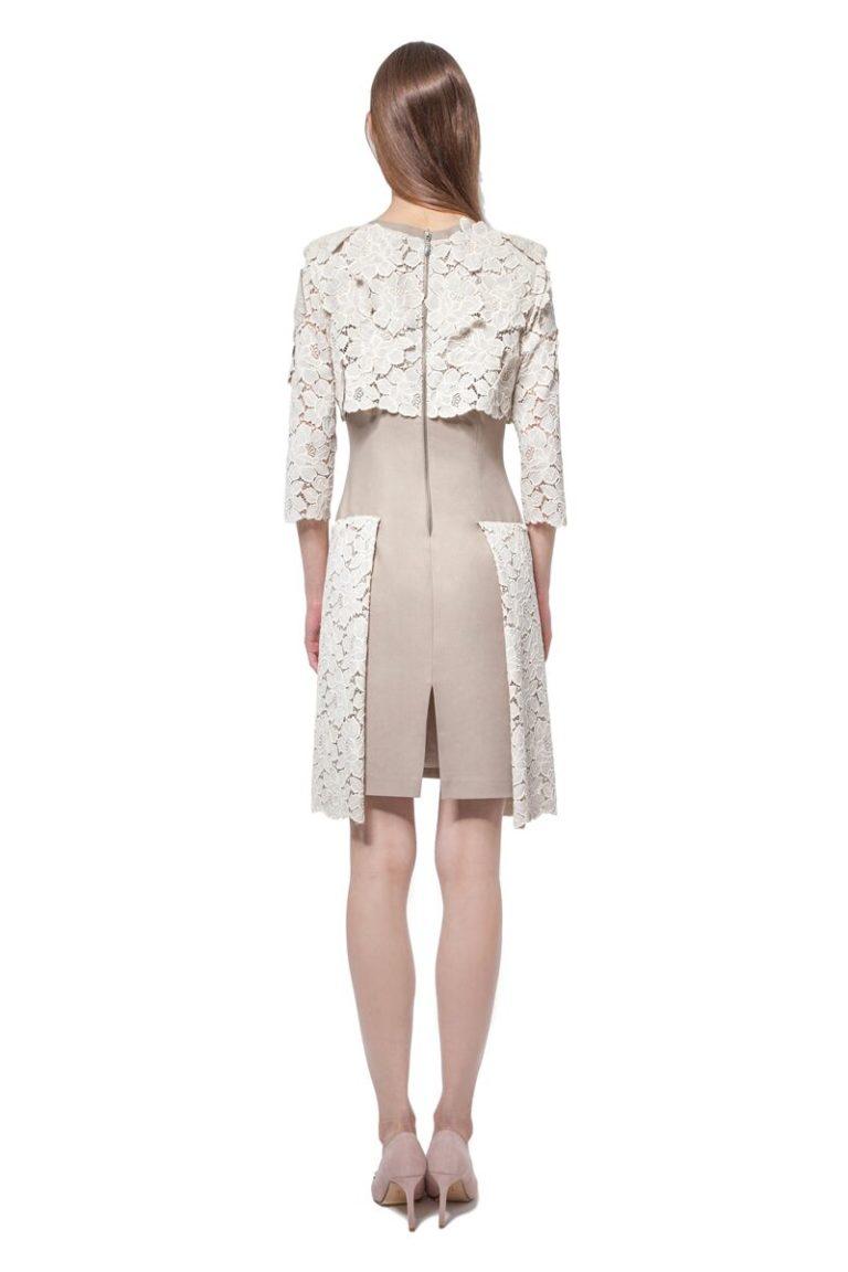 Beige cotton dress with lace details
