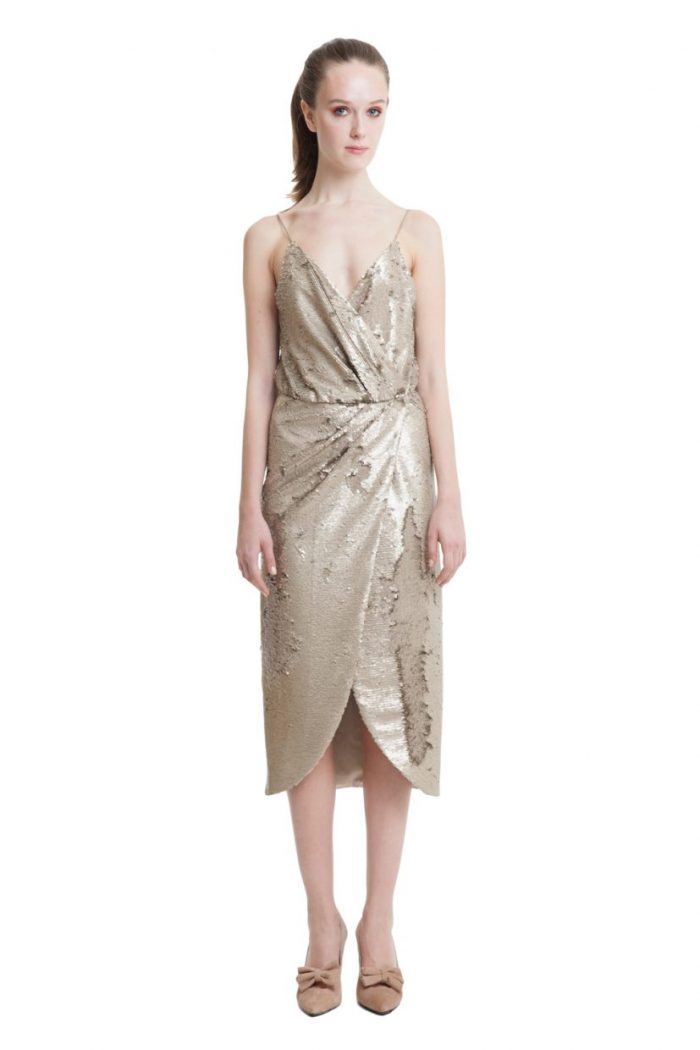 Gold sequin wrap midi dress with slim straps