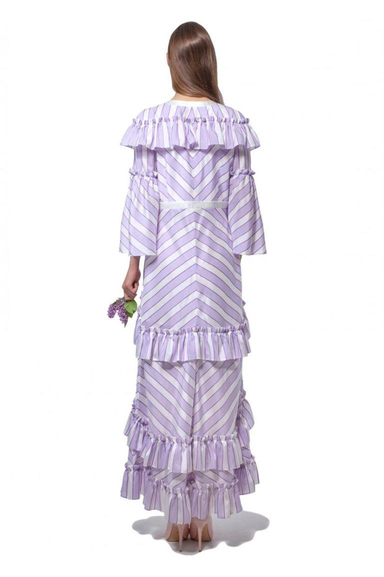 Lilac and white striped maxi dress