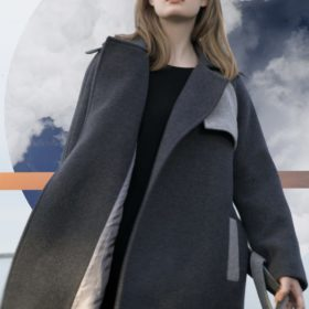 Dark grey double breasted coat with belt in two fabrics
