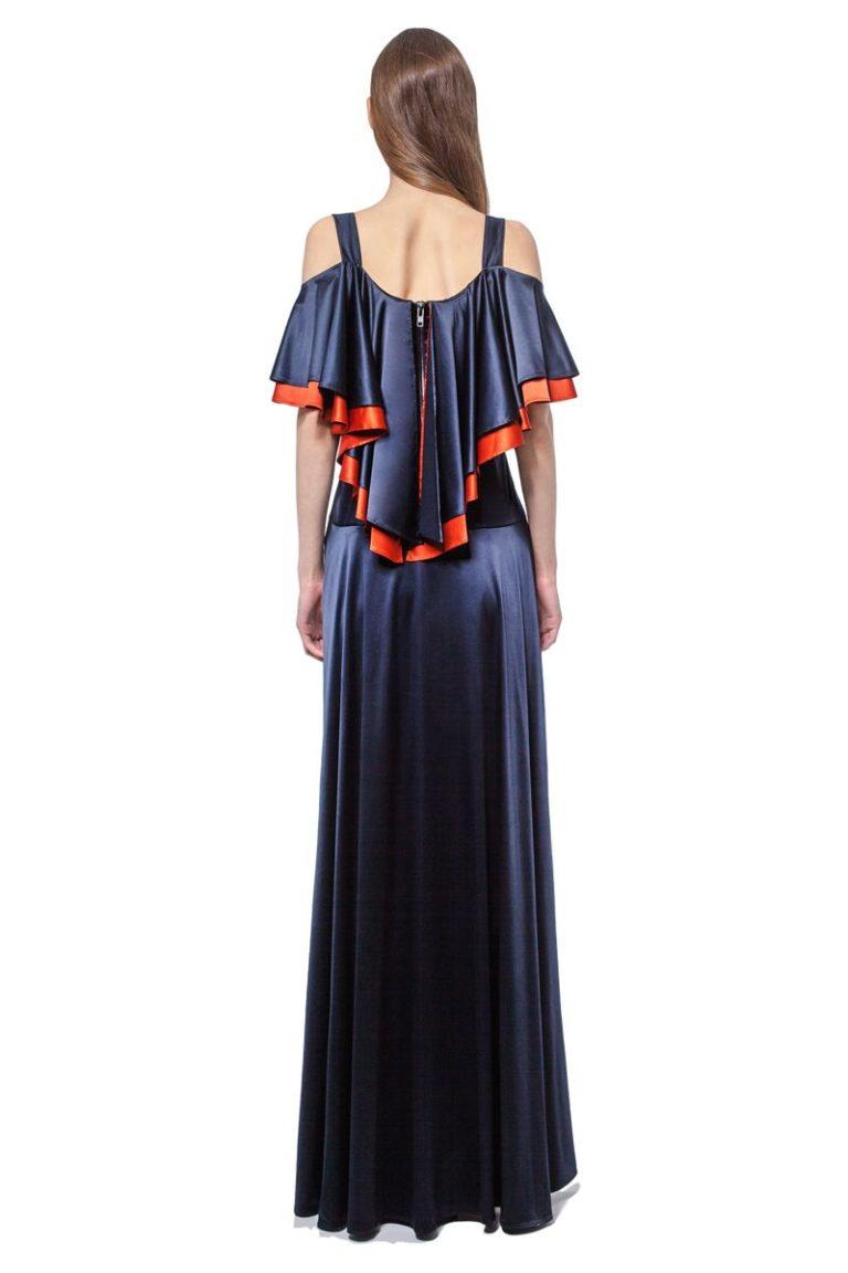 Dark blue satin maxi dress with orange details and Swarovski crystals
