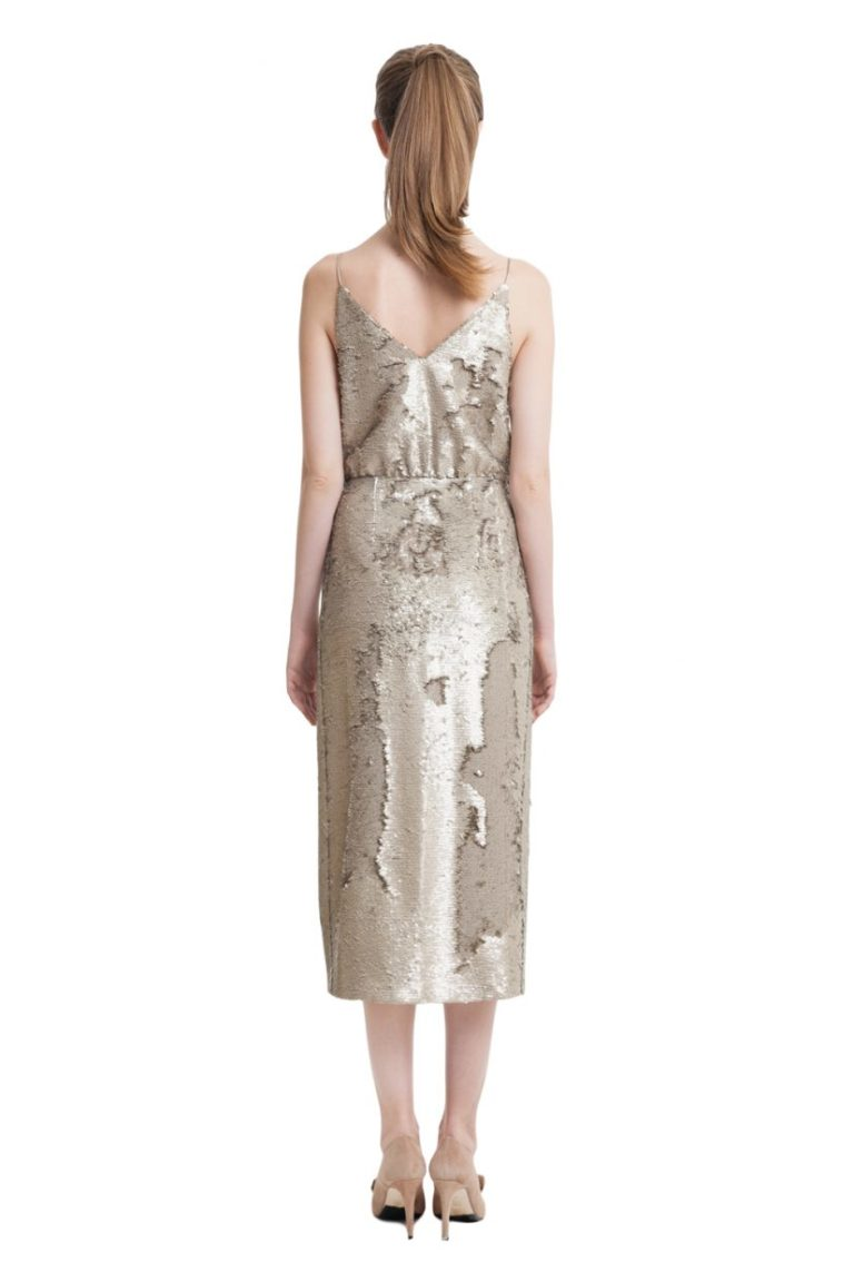 Gold sequin wrap midi dress with slim straps