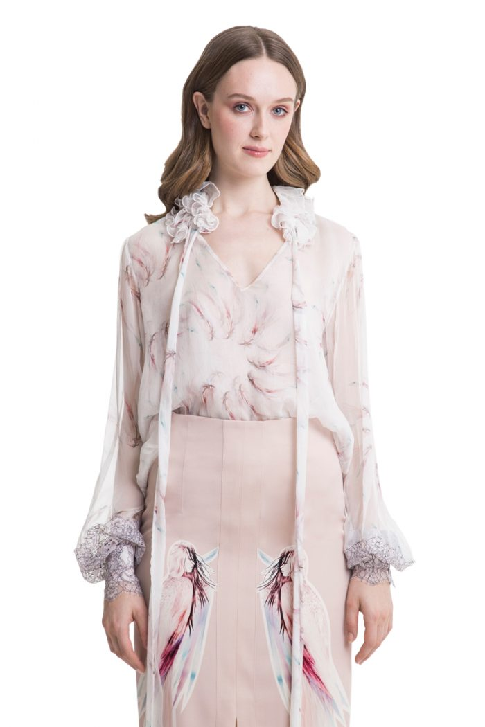 White printed silk blouse with lace inserts
