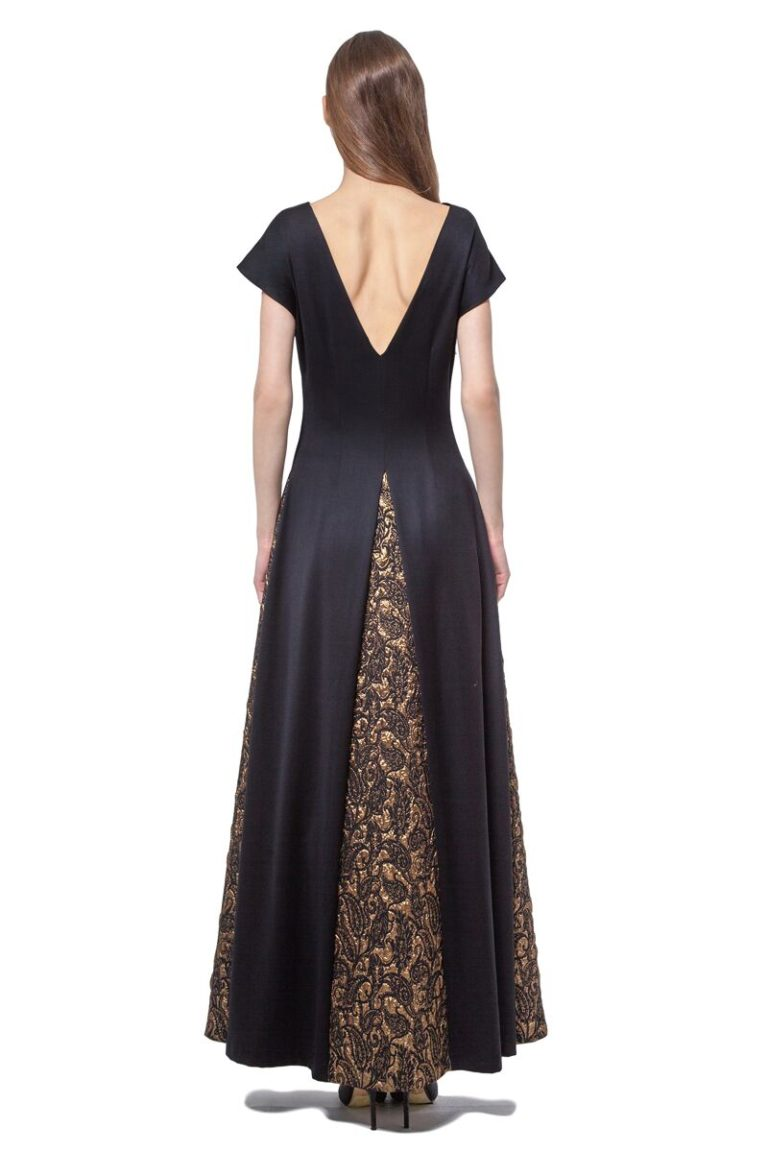 Black maxi dress with golden inserts
