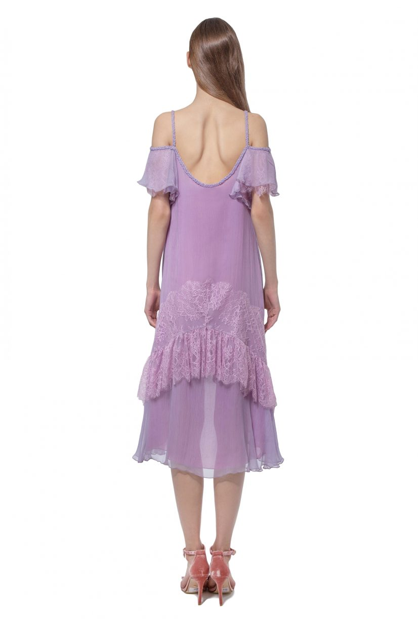 Lilac cold shoulder dress with lace and frills