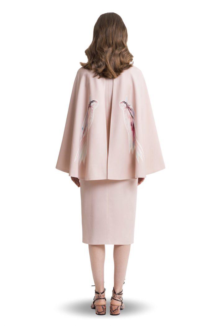 Powder pink printed midi dress with cape