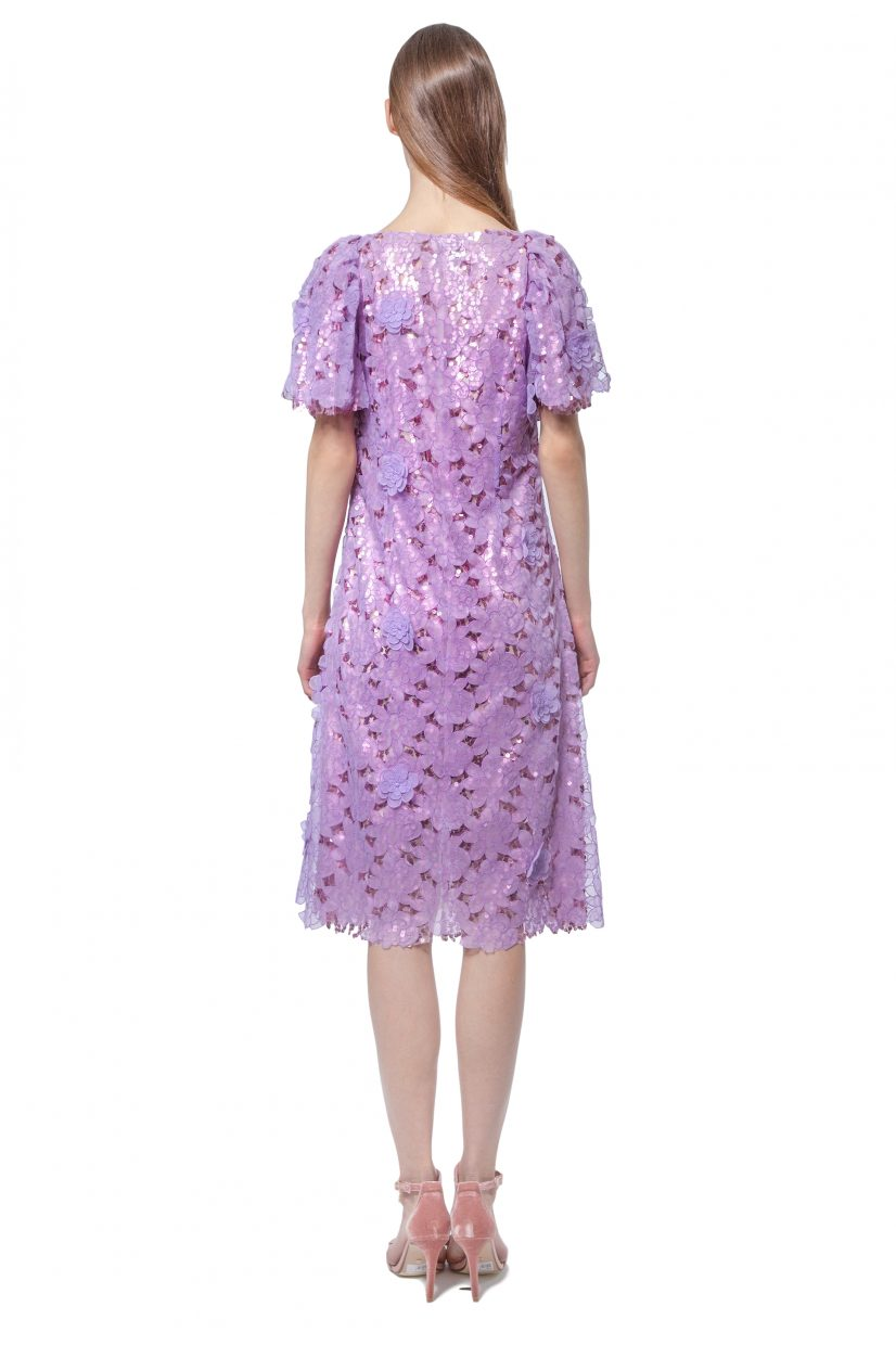 Lilac dress with flowers and sequins