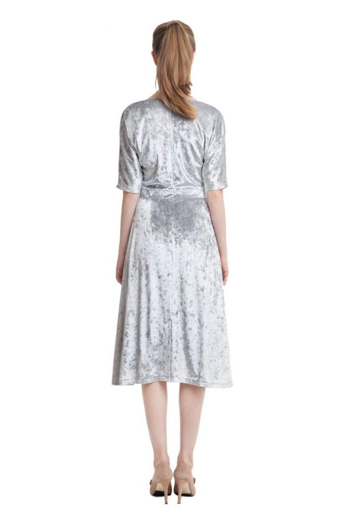Light grey velvet dress with drawstring waistband