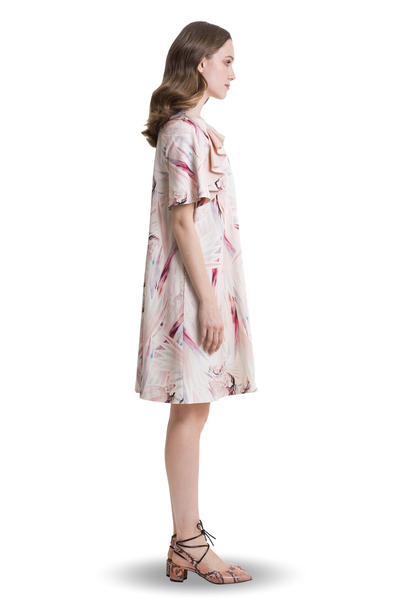 Pastel look A-line mini dress with ruffles