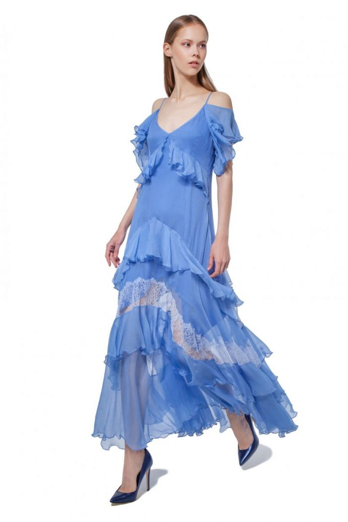 Sky blue silk dress with flounces and lace