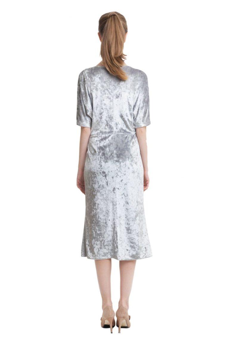 Light grey velvet draped top midi dress with short sleeves
