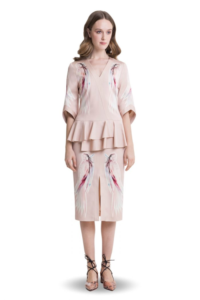 Printed powder pink midi dress with basque