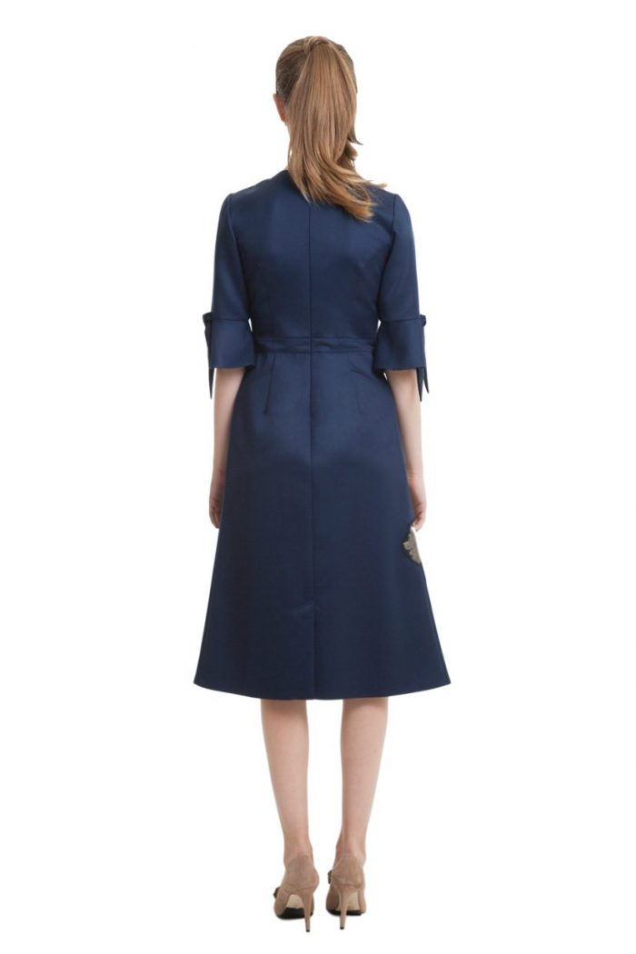 Dark blue midi dress with applications