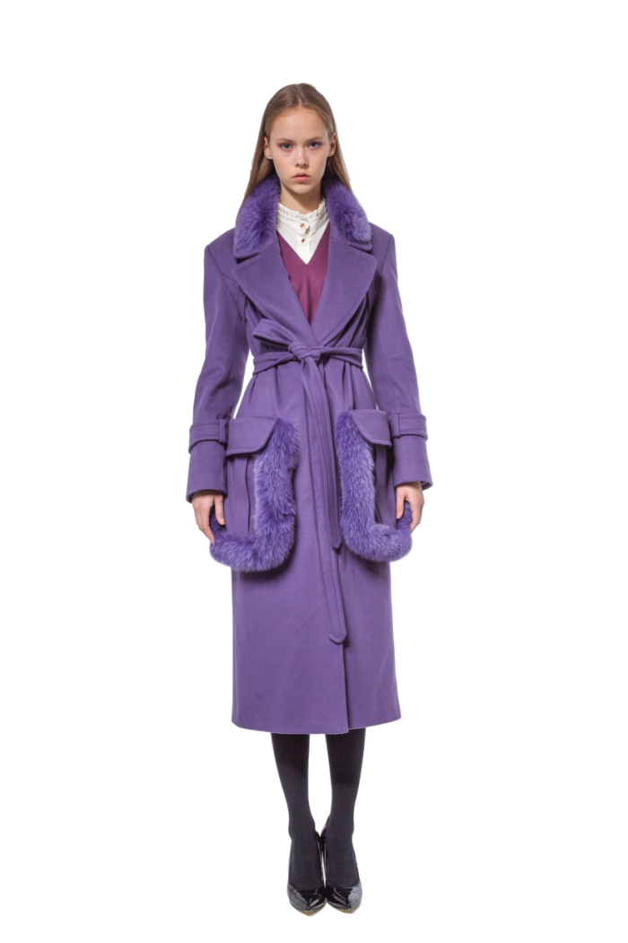 Violet cashmere coat with fur-trimmed detailing