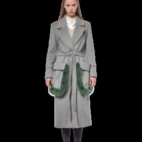 Olive green cashmere coat with fur-trimmed pockets