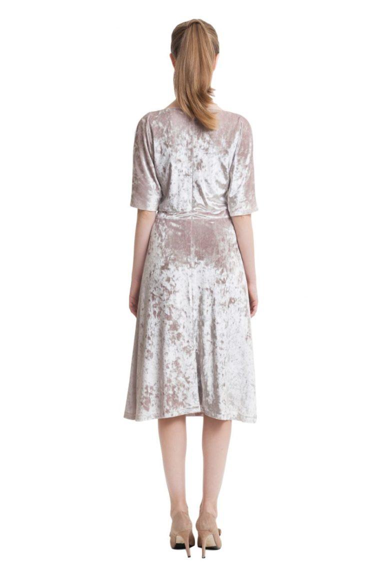 Light beige velvet midi dress with drawstring waistband
