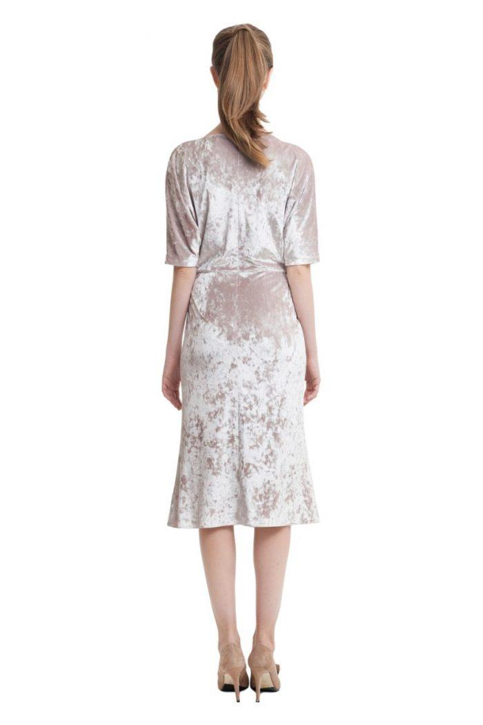 Light beige velvet draped top midi dress with short sleeves