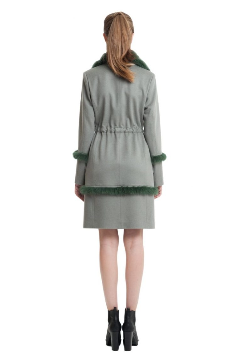 Fur trimmed cashmere coat in olive colour