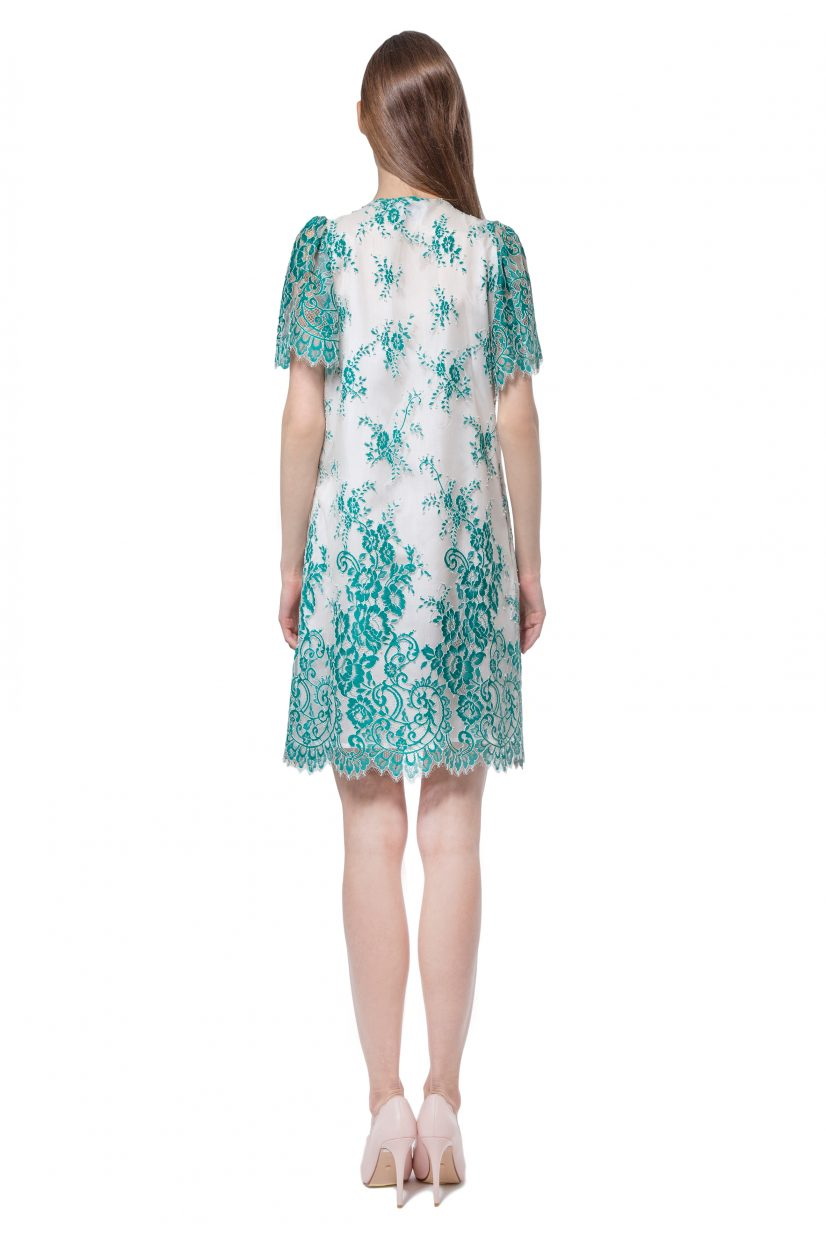 Green lace dress with jabot