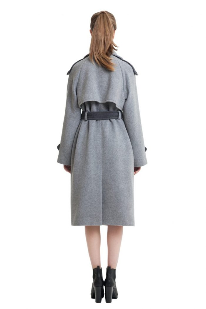Light grey double breasted coat with belt in two fabrics