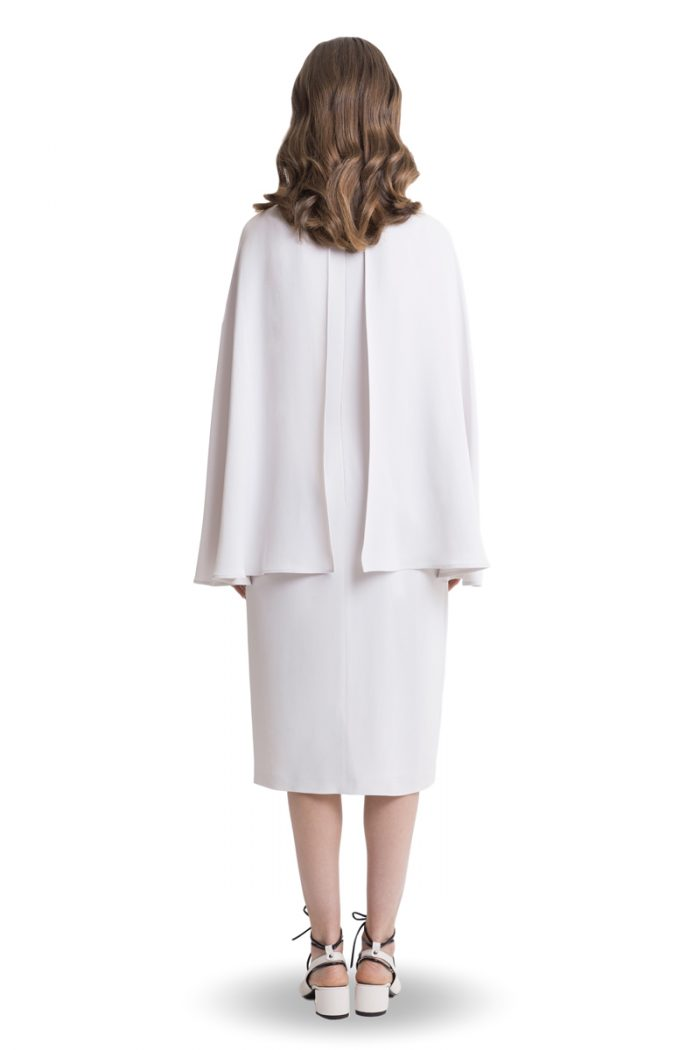 White midi dress with cape
