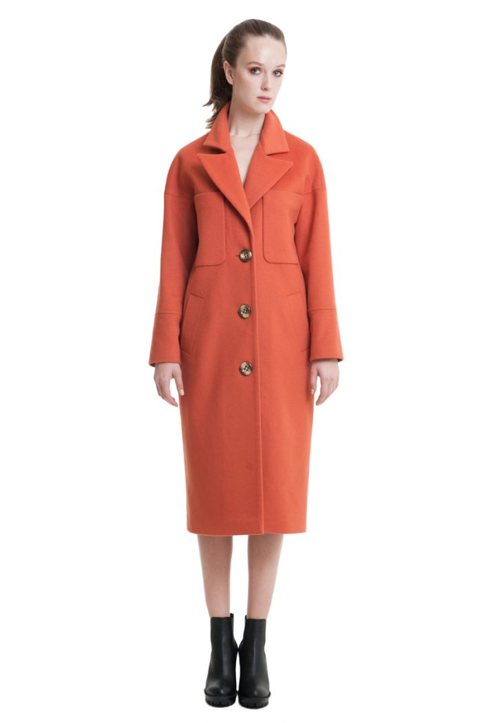 Burnt orange big pockets drop shoulder woolen coat