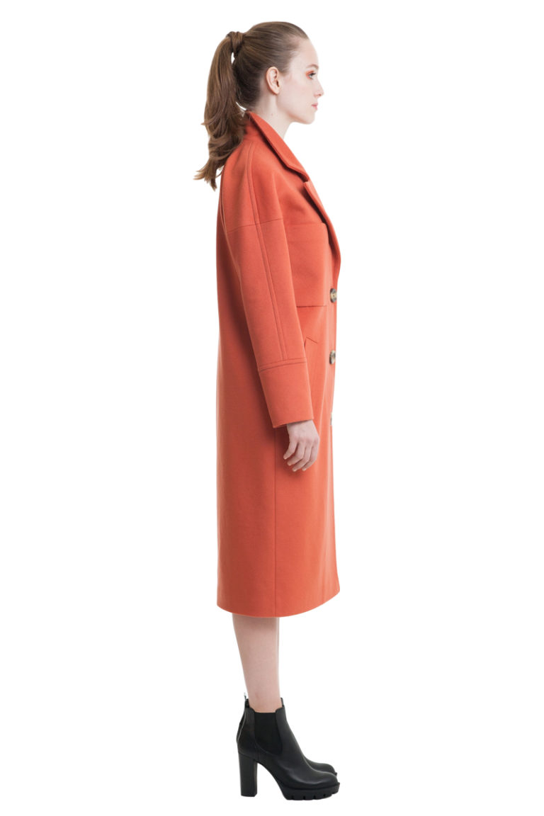 Burnt orange big pockets drop shoulder woolen coat