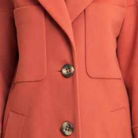 Burnt orange big pockets drop shoulder woolen coat 4