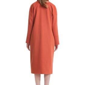 Burnt orange big pockets drop shoulder woolen coat 2