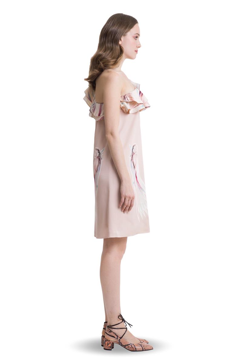 Powder pink A-line one shoulder ruffle above knee dress