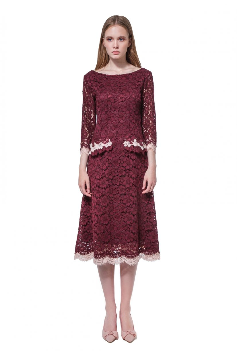 Burgundy lace dress with flower appliqué