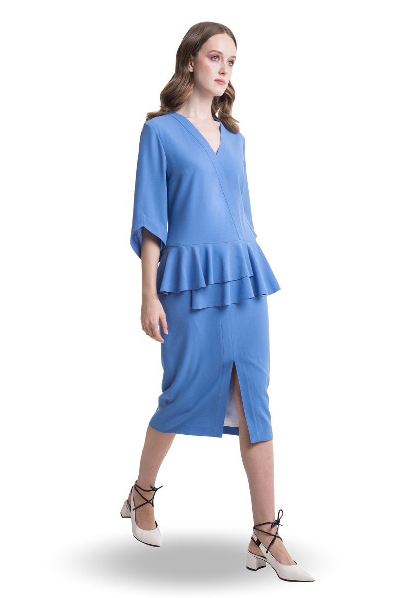 Blue midi dress with basque and front split