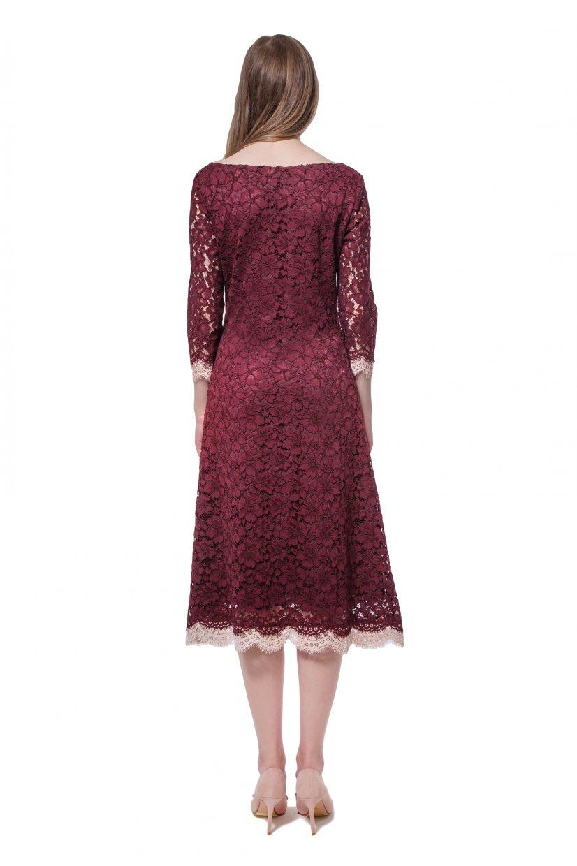 Burgundy lace dress with flower appliqué