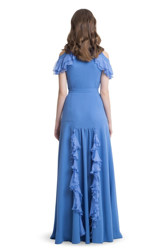 Blue cold shoulder and ruffles maxi dress