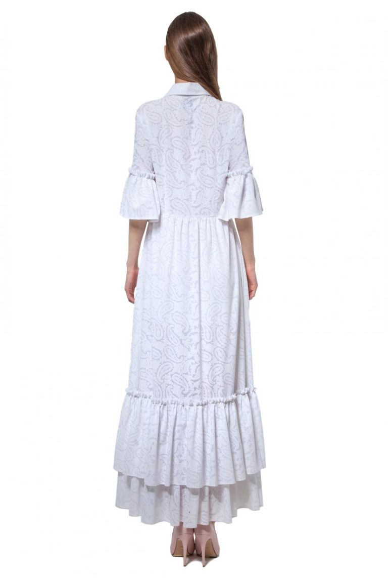 White cotton paisley print dress