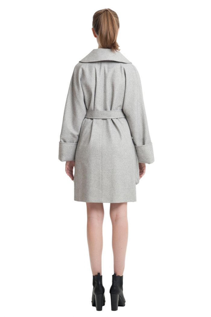 Grey cashmere coat with big patch pockets