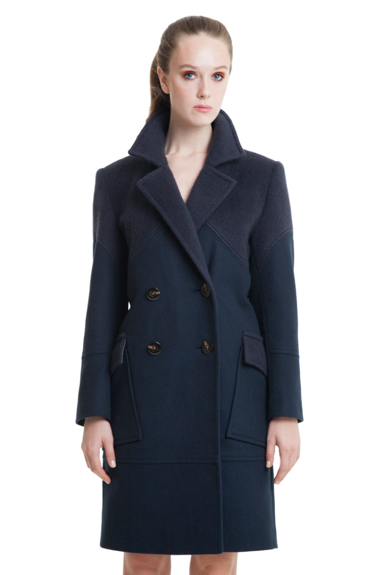 Dark blue straight cut wool and cashmere blend coat