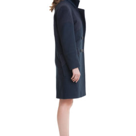 Dark blue straight cut wool and cashmere blend coat 3
