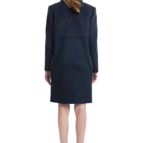 Dark blue straight cut wool and cashmere blend coat 2