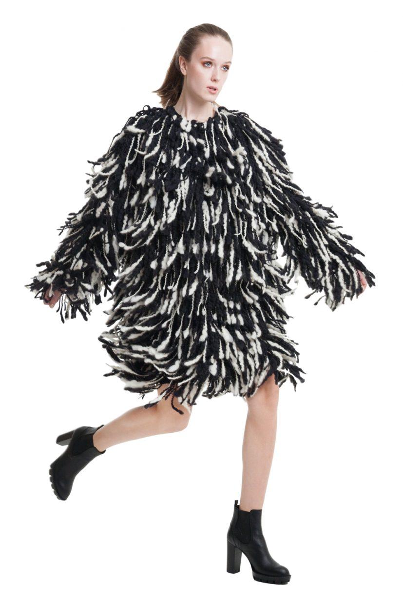 Fuzzy shearing long coat in black and white